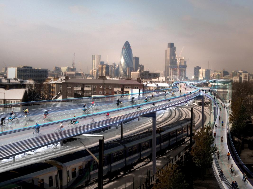 SkyCycle - велосипедная сеть дорог над Лондоном от Foster+Partners